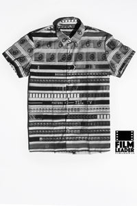 Short Sleeve Button Down Shirt with Cinemastripe #1 (B&W)