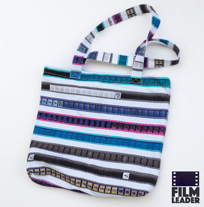 Canvas Tote with Multicolored 35mm Leader Stripes on White, #2