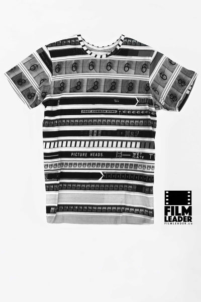 Crew Neck T Shirt with CinemaStripe #1 (B&W)