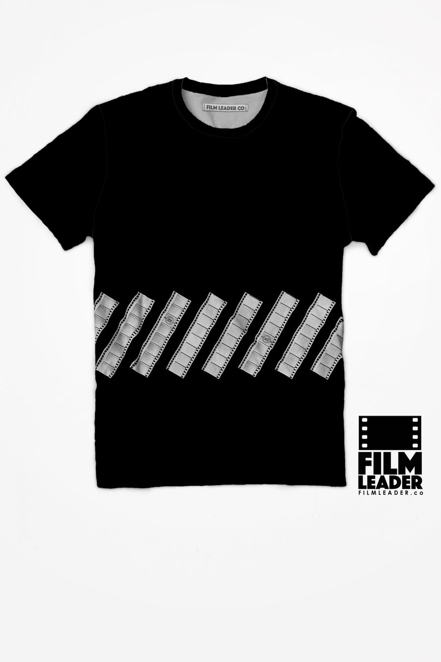 Crew Neck T Shirt with Minimal #4 Negative on Black (Low)