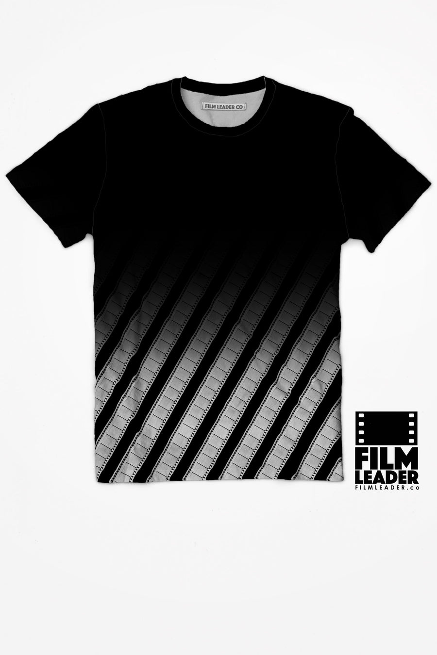 Crew Neck T Shirt with B&W Negative Fade #1