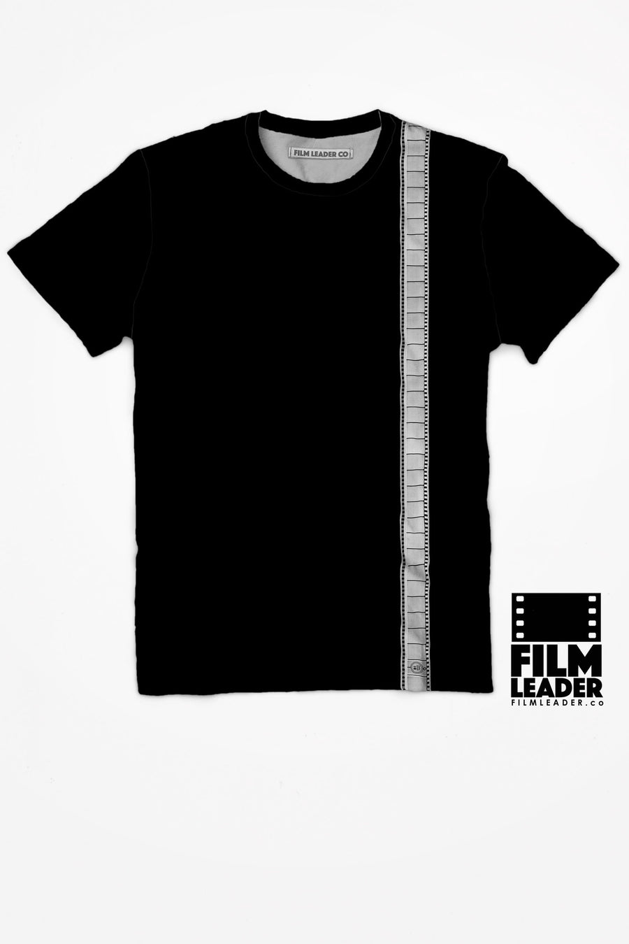 Crew Neck T Shirt with 35mm Single Strip #2 (Vertical Negative)