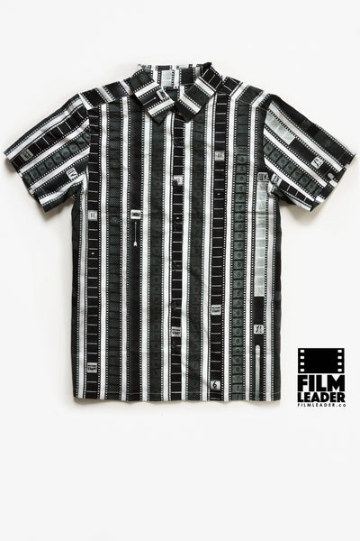 Short Sleeve Blouse with Vertical 35mm B&W Leader Mix on White (Regular Stripe)