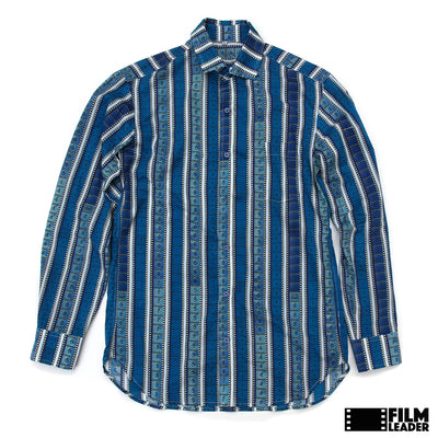 Long Sleeve Button Down Shirt with Vertical Blue 35mm Leaders & Countdowns on White (Narrow Stripe)