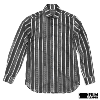 Long Sleeve Button Down Shirt with Vertical B&W 35mm Leaders & Countdowns (Narrow Stripe)