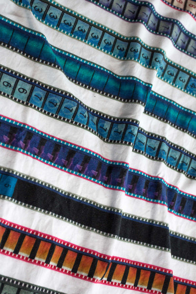 Tank Top with Multicolored 35mm Leader Stripes on White