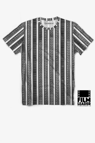 Crew Neck T Shirt with Vertical 35mm Leaders (B&W)