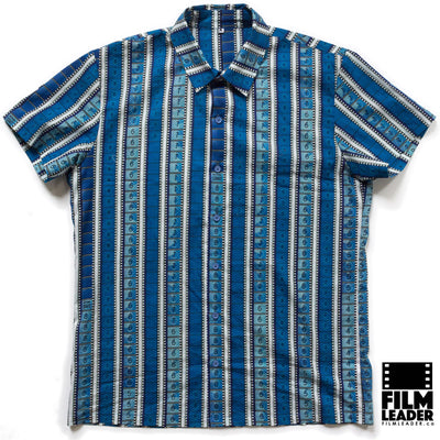 Short Sleeve Button Down Shirt with Vertical Blue 35mm Leaders & Countdowns on White (Narrow Stripe)