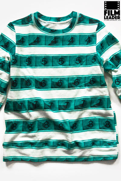 Classic Sweatshirt with Turquoise IMAX 15/70mm Countdown Wide Stripe on White