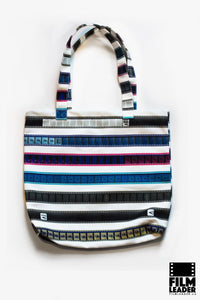 Canvas Tote with Multicolored 35mm Leader Stripes, Pattern #1
