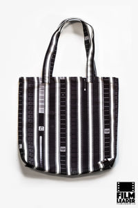Canvas Tote with Vertical 35mm B&W Leader Mix on White (Regular Stripe)