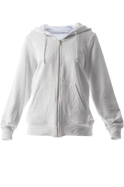 LAB: Zip Hoodies with Multicolored 35mm Leader Stripes on White, #1