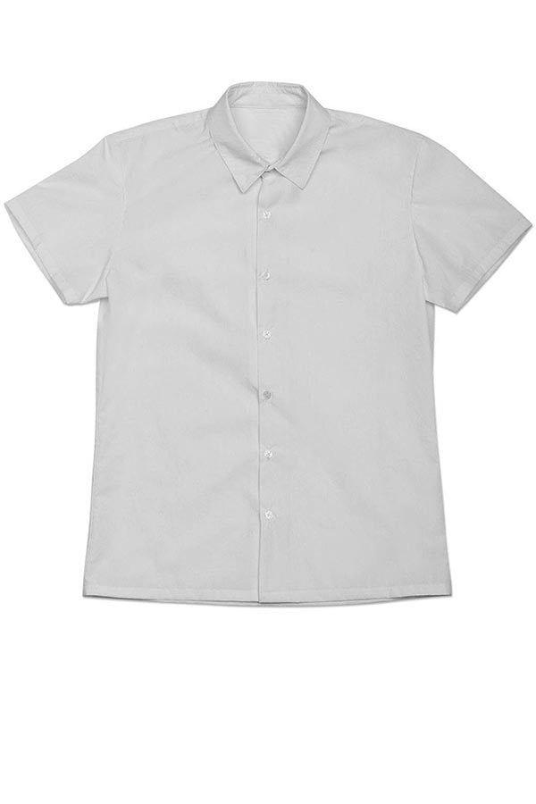 Short Sleeve Button Down Shirt with Vertical 35mm Black Foot Leader on White (Narrow Stripe)