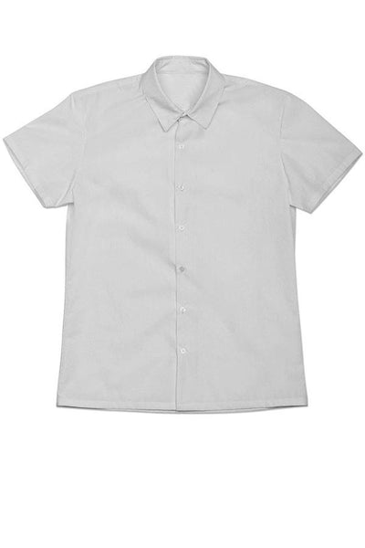 LAB: Short Sleeve Button Down Shirt with B&W 35mm Leader Stripes on White (Pattern #3, Mid Grey Stripes)