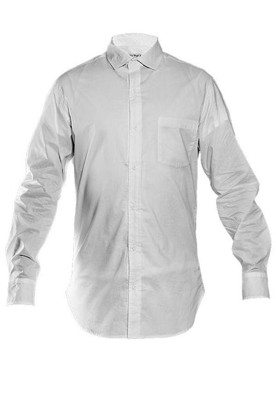 LAB: Long Sleeve Button Down Shirt with B&W 35mm Leader Stripes on Congress Blue