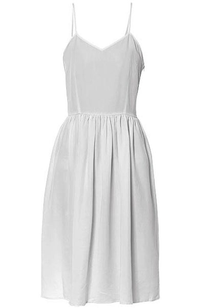 LAB: Summer Dress with Vertical 35mm Green Foot Leader on White (Narrow Stripe)