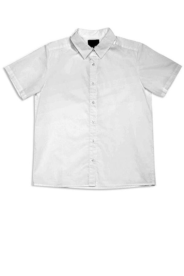 LAB: Short Sleeve Blouse with Diagonal 35mm Short Strips on White