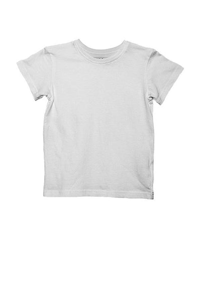 LAB: Kids Crew Neck T Shirt with Vertical 35mm B&W Leader Mix on White (Tight Stripe)