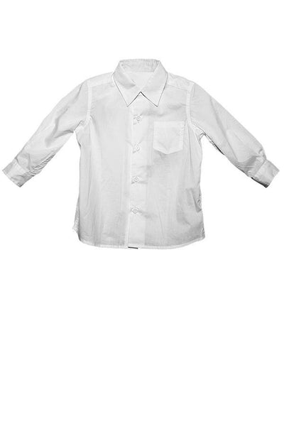 LAB: Kids Long Sleeve Button Down Shirt with Vertical 35mm Red Foot Leader on White (Narrow Stripe)