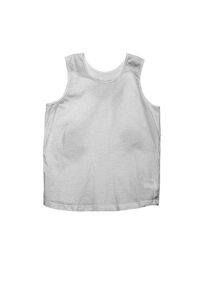 LAB: Kids Tank Top with Vertical 35mm Blue Foot Leader on White (Narrow Stripe)