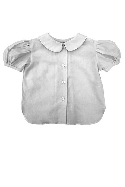 LAB: Kids Blouse with Vertical 35mm Green Foot Leader on White (Narrow Stripe)