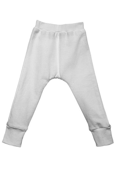 LAB: Kids Drop Pants with B&W 35mm Leader Stripes on White (Pattern #3, Mid Grey Stripes)