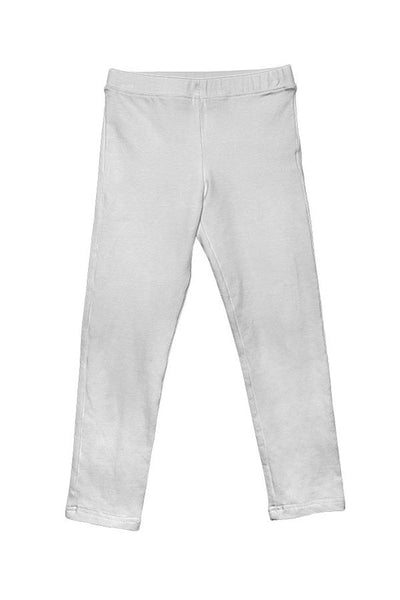 LAB: Kids Leggings with Vertical 35mm Green Foot Leader on White (Narrow Stripe)