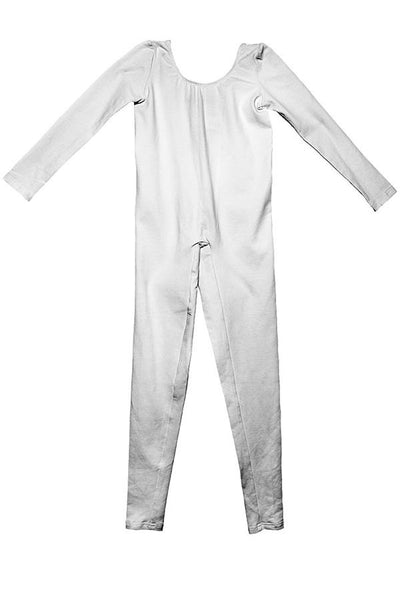LAB: Kids Unitard with Vertical 35mm Green Foot Leader on White (Narrow Stripe)