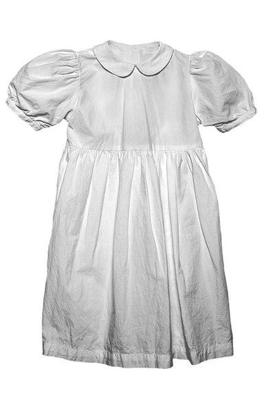 LAB: Kids Party Dress with Vertical B&W 35mm Countdowns on White (Tight Stripe)