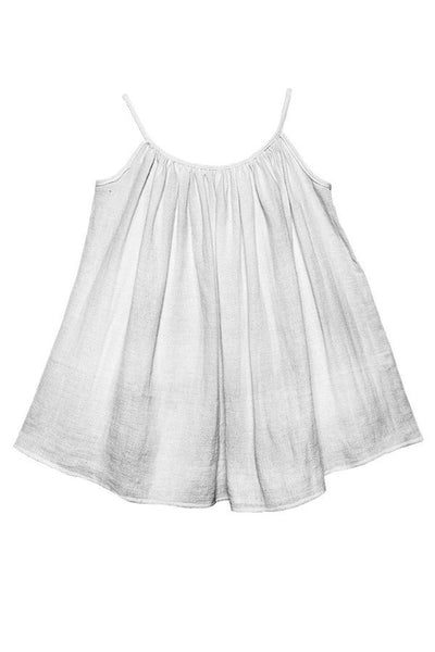 LAB: Kids Tent Dress with B&W 35mm Leader Stripes on White (Pattern #3, Mid Grey Stripes)