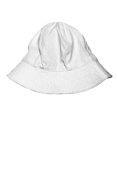 LAB: Kids Bucket Hat with Vertical 35mm Red Foot Leader on White (Narrow Stripe)
