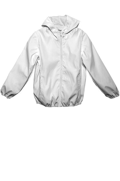 LAB: Kids Rain Jacket with Vertical Steel Blue 35mm Leaders & Countdowns on White (Tight Stripe)