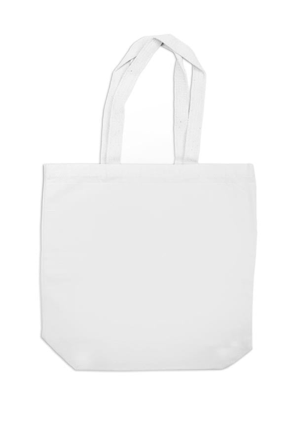 Canvas Tote with Vertical 35mm Red Foot Leader on White (Narrow Stripe)