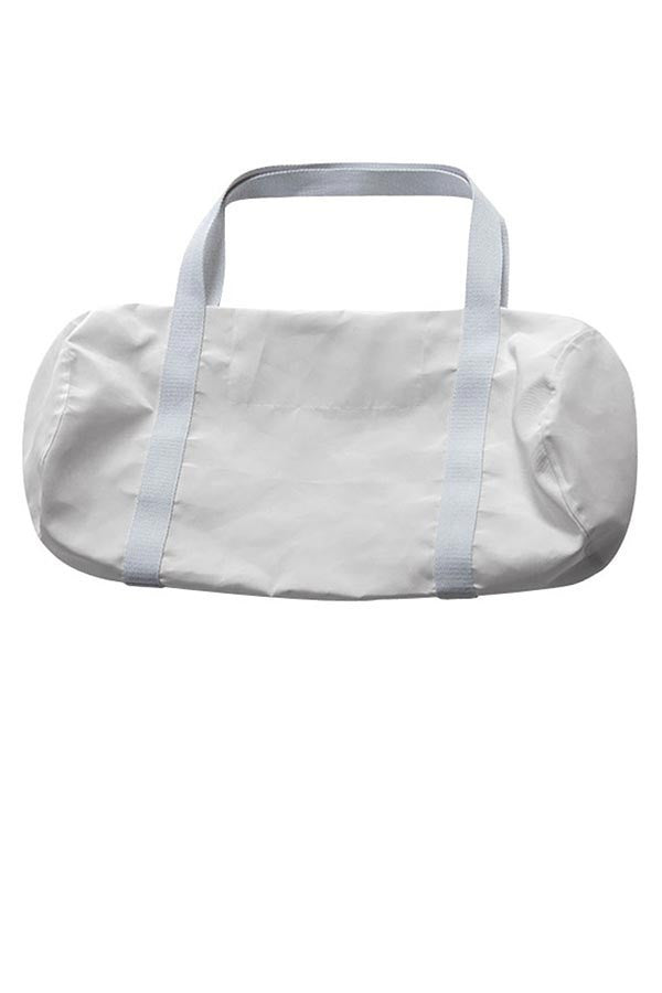 LAB: Duffle Bag with Vertical 35mm B&W Leader Mix on White (Tight Stripe)