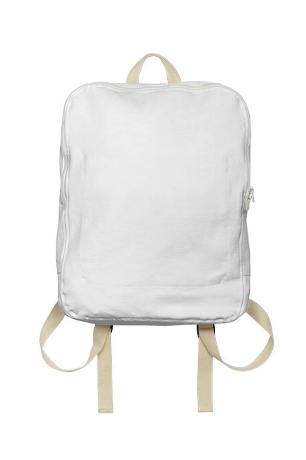 LAB: Backpack with Vertical Purple 35mm Leaders & Countdowns on White (Tight Stripe)