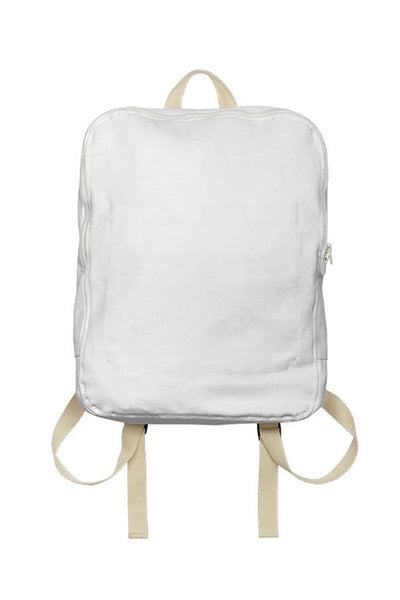 LAB: Backpack with Vertical Steel Blue 35mm Leaders & Countdowns on White (Tight Stripe)