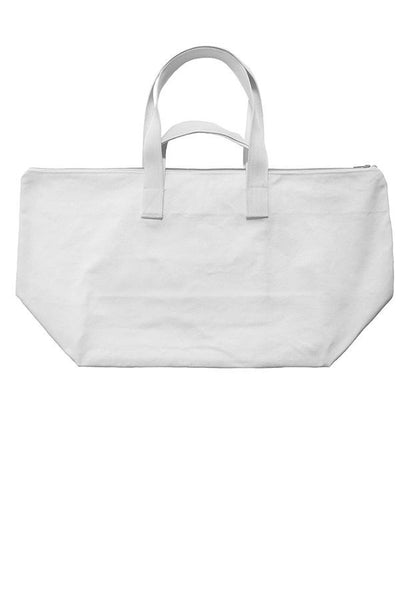 LAB: Weekend Bag with Vertical 35mm Blue Foot Leader on White (Narrow Stripe)
