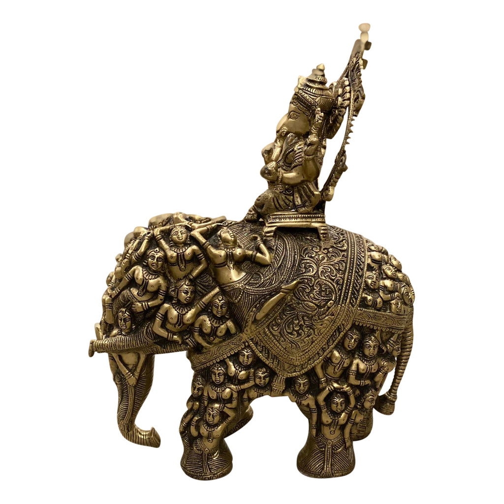 [[Brass Ganesh riding the elephant of fertility//Ganesh en laiton chevauchant l'éléphant de la fertilité]]