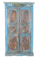 [[Sky blue cabinet with old Indian door///Armoire bleu ciel avec porte indienne ancienne]]