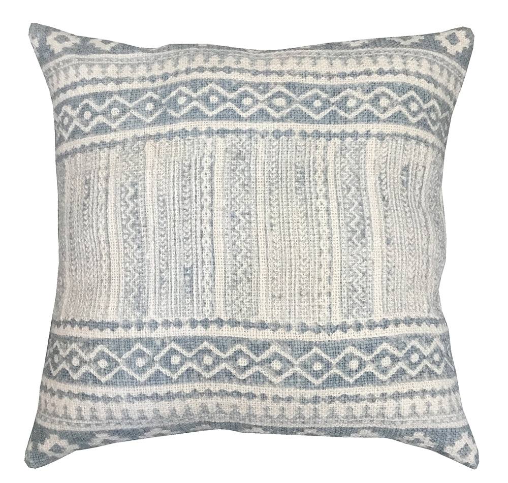 [[Hand block printed cotton cushion///Coussin imprimé à la main]]