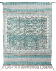 [[Hand block printed rug and throw blanket///Tapis imprimé à la main en bloc et couverture]]