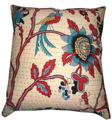Large Kantha Cotton Cushion//Grand Coussin en Coton Kantha