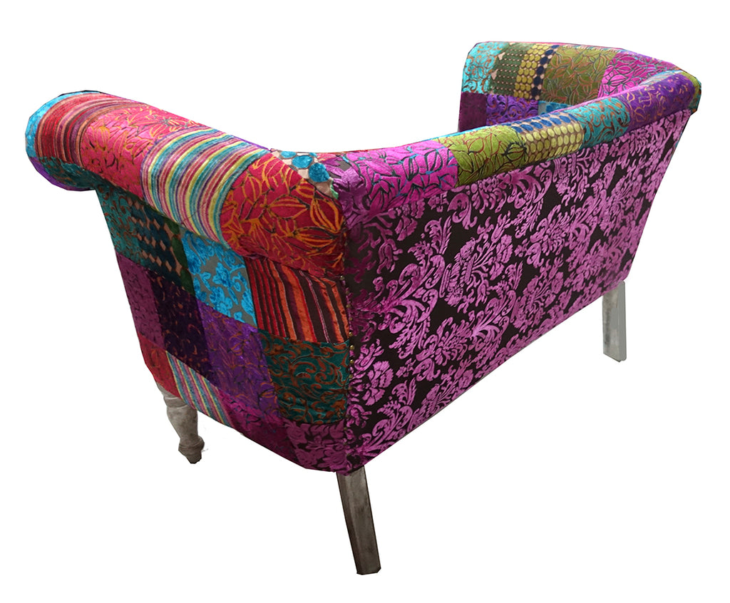 Multicolor velvet love seat//Siège d'amour en velours coloré