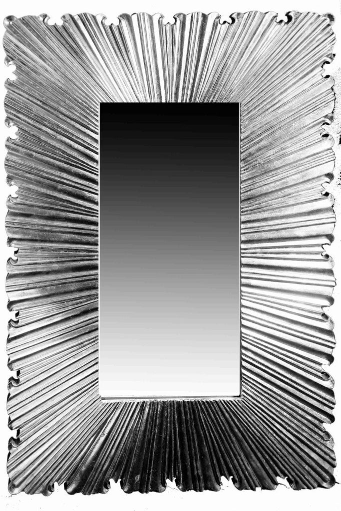 White metal mirror frame