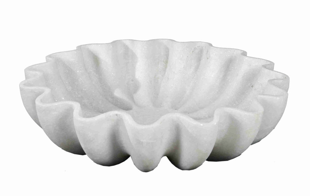 White marble floral bowl