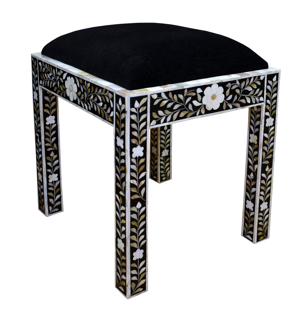 Black mother of pearl desk & stool set//Set bureau & tabouret en nacre noire