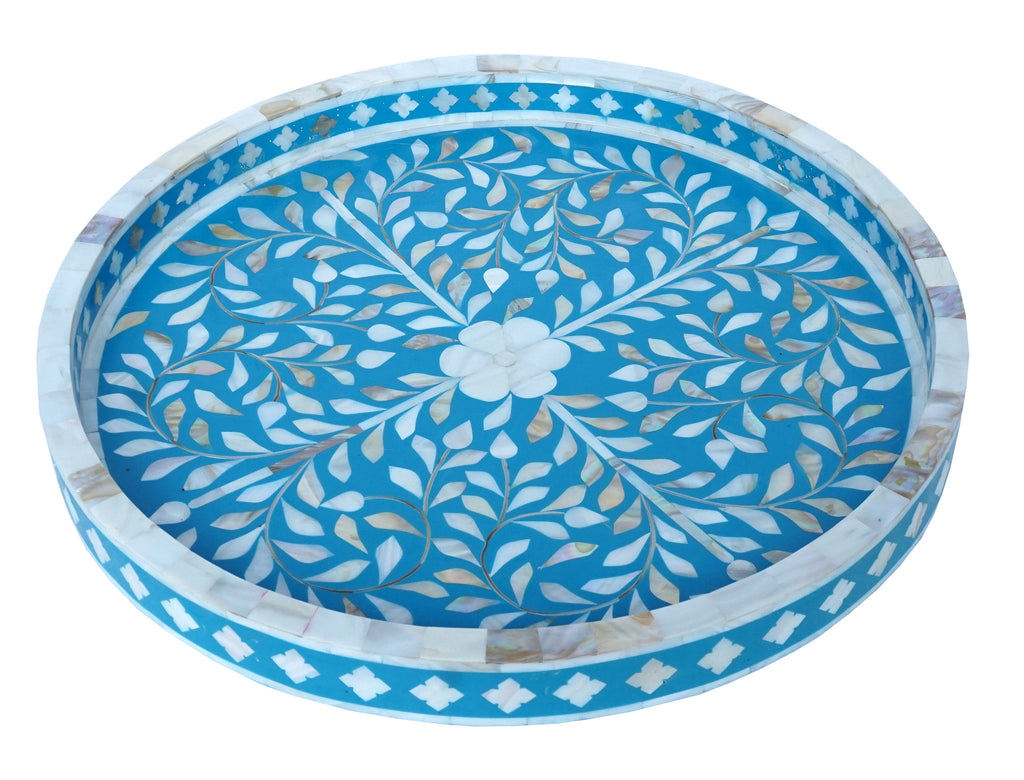 Mother of pearl tray round//Plateau circulaire en nacre