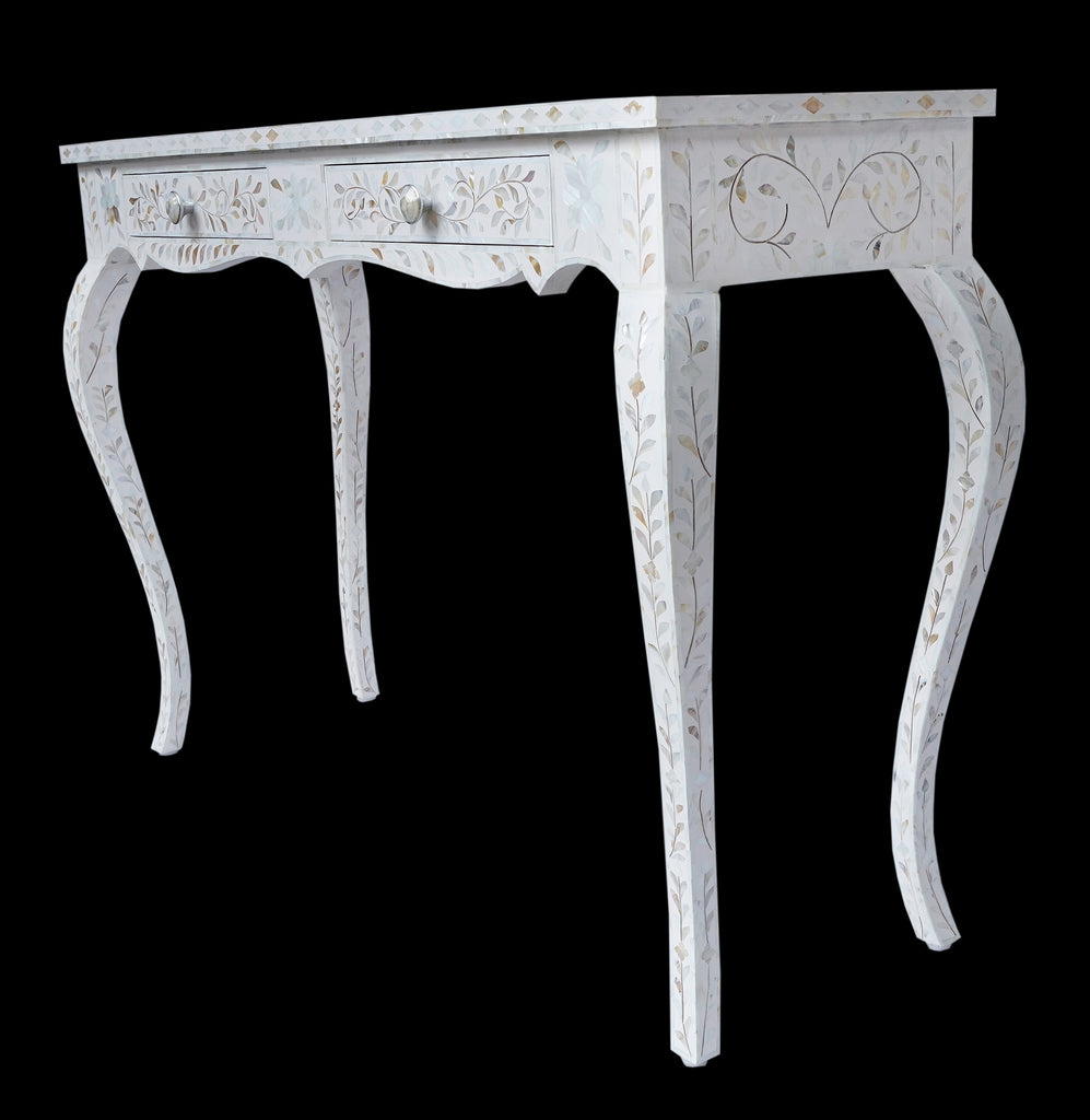 Mother of pearl inlay console with 2 drawers//Console incrustée en nacre avec 2 tiroirs