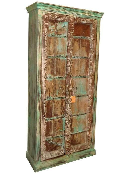 Green Armoire with Old Door//Armoire verte avec porte ancienne