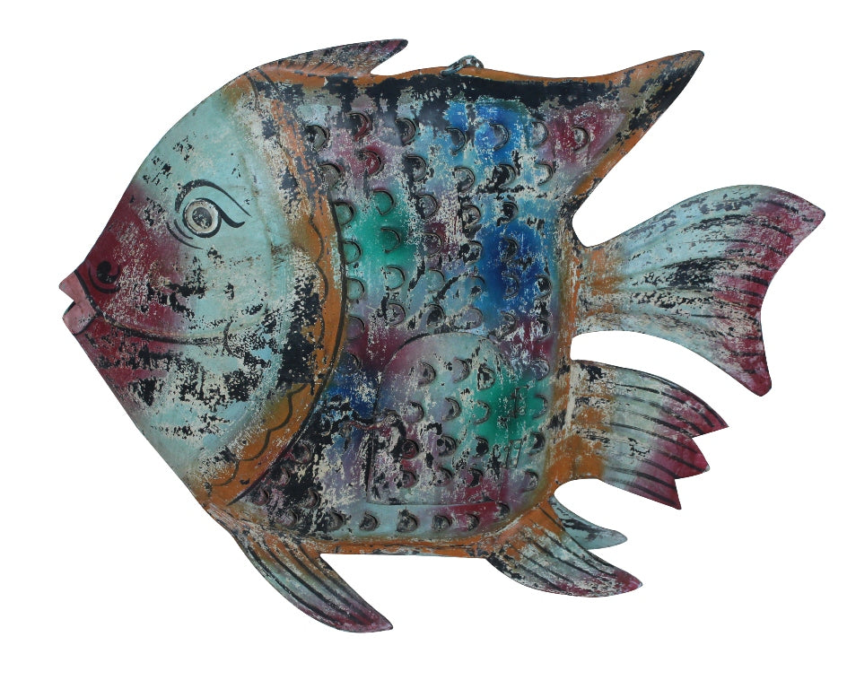 [[Colorful metal fish lantern///Lanterne poisson colorée en métal]]